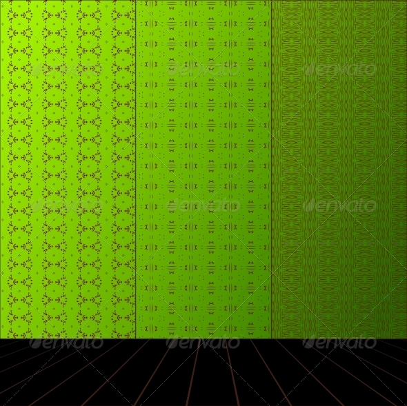 GraphicRiver Green room with set seamless and wooden floor 4023053