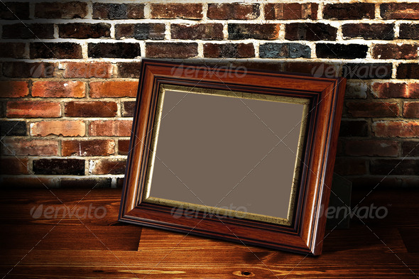 Frame on the shelf with place for photo 2 - Stock Photo - Images