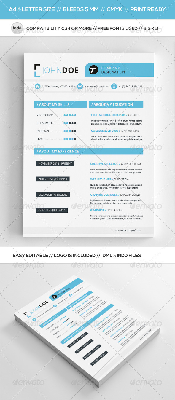 GraphicRiver Clean Resume Template 4023566
