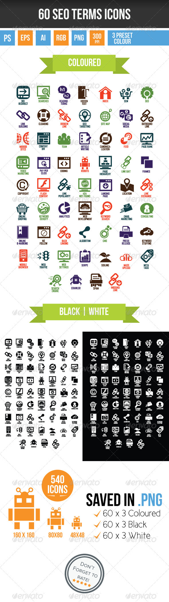 60 SEO Terms Icons - Business Icons