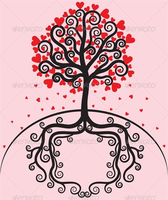 GraphicRiver Tree with leaves shaped heart 4023647