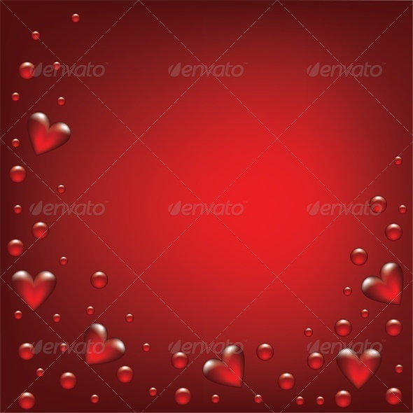 GraphicRiver transparent hearts on red background 4023676