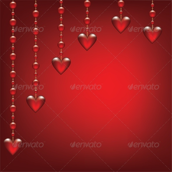 GraphicRiver hearts on red background 4023712