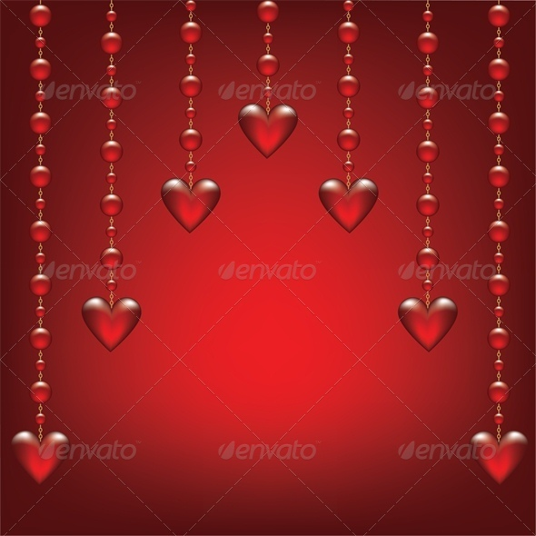 GraphicRiver Valentines card with glass hearts 4023716