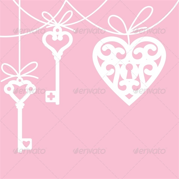 GraphicRiver Lock Shaped Heart and Skeleton Key 4023771