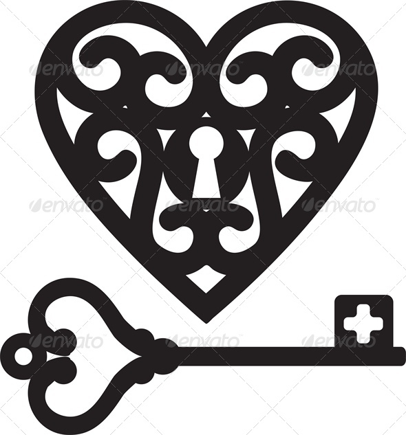 GraphicRiver Lock Shaped Heart and Skeleton Key 4023776