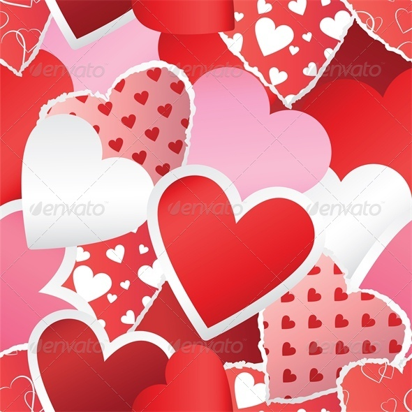 GraphicRiver Heart Stickers Background 4023796