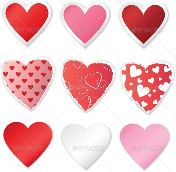 GraphicRiver Heart Sticker Set 4023800