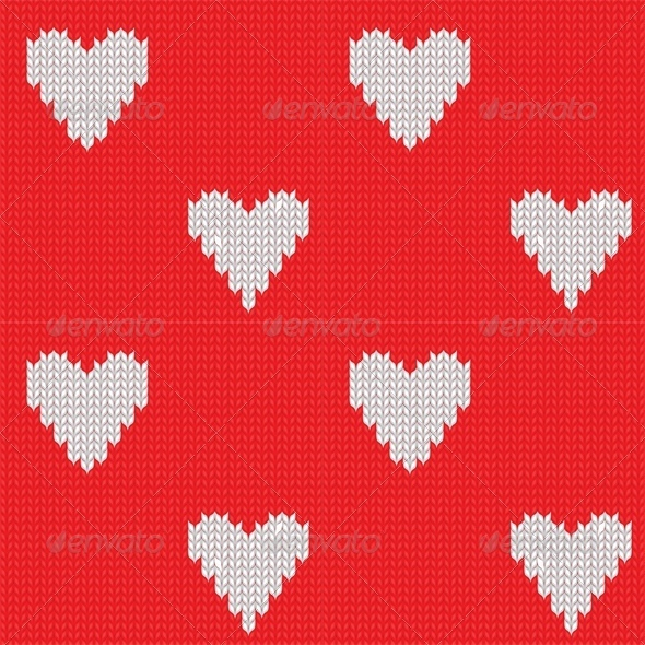 GraphicRiver Seamless Knitted Background with Hearts 4023809