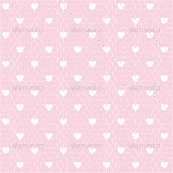 GraphicRiver Seamless Lace Pattern with Hearts 4023817
