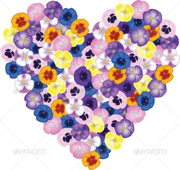 GraphicRiver Pansies Flower Bouquet Shaped Heart 4023822