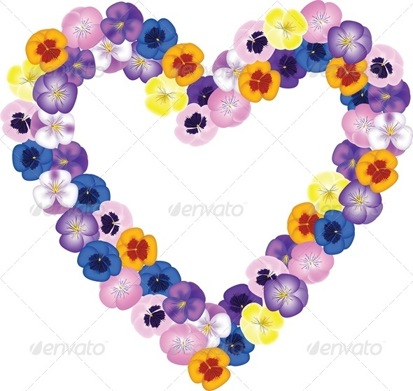 GraphicRiver Pansies Flower Bouquet Shaped Heart 4023829