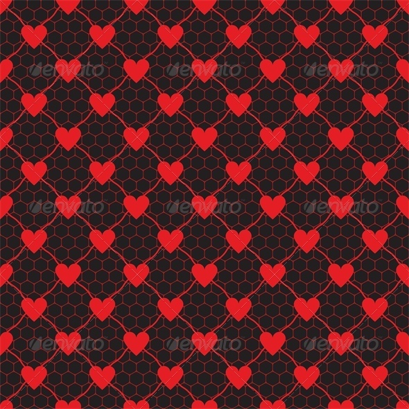 GraphicRiver Lace Red Pattern with Heart 4023849