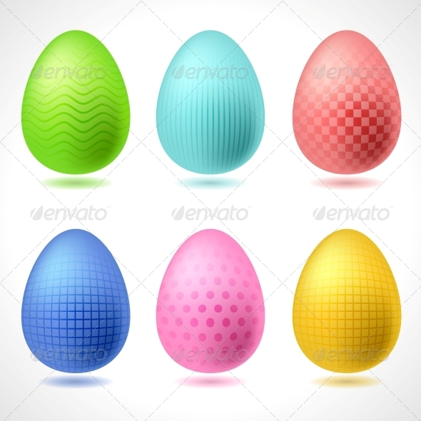 GraphicRiver Set of 6 vector Patterned Easter Eggs 4023861