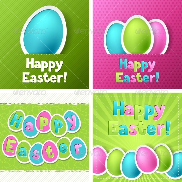 GraphicRiver Happy Easter Greeting Cards with Eggs 4023868