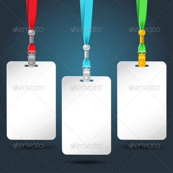 GraphicRiver Set of Blank Badges with Color Neckbands 4023869