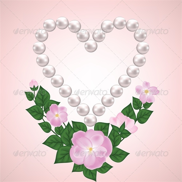GraphicRiver Pearl Heart and Rose Branch 4023953