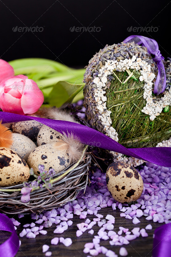 PhotoDune pink tulips and brown eggs with purple ribbon easter decoration 4024086