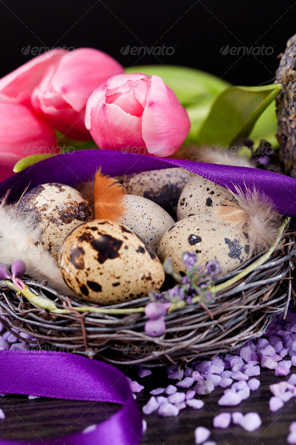 PhotoDune pink tulips and brown eggs with purple ribbon easter decoration 4024088