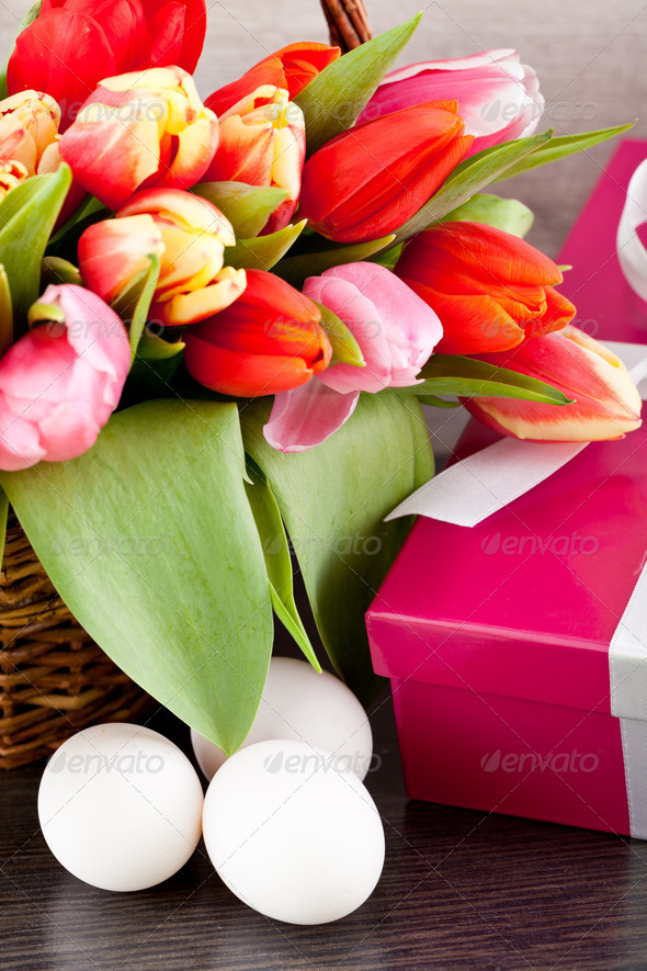 PhotoDune pink present and colorful tulips festive easter decoration 4024087