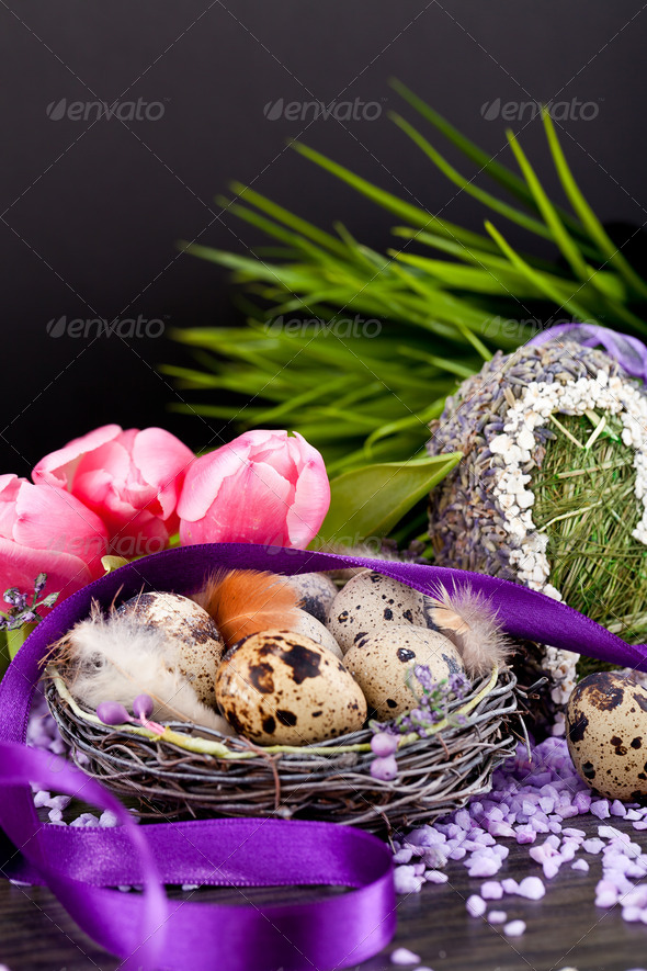 PhotoDune pink tulips and brown eggs with purple ribbon easter decoration 4024090