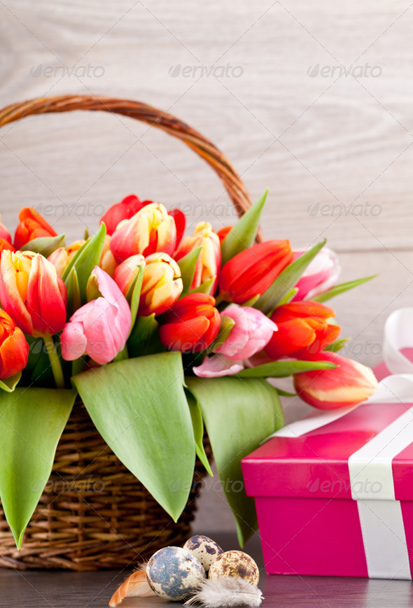 PhotoDune pink present and colorful tulips festive easter decoration 4024091