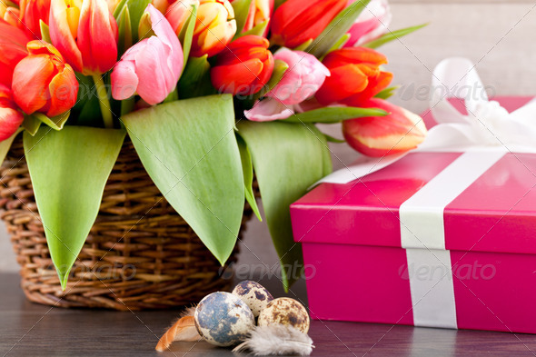 PhotoDune pink present and colorful tulips festive easter decoration 4024093