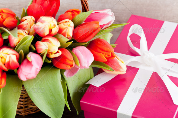 PhotoDune pink present and colorful tulips festive easter decoration 4024094