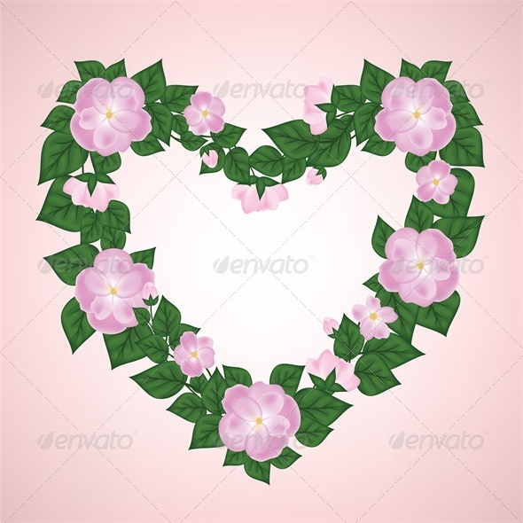 GraphicRiver Wreath of Rose Shaped Heart 4024042