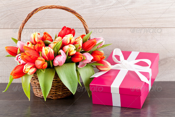 PhotoDune pink present and colorful tulips festive easter decoration 4024096