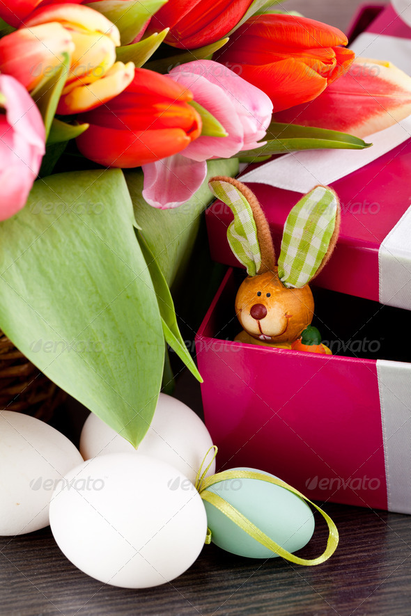 PhotoDune pink present and colorful tulips festive easter decoration 4024097