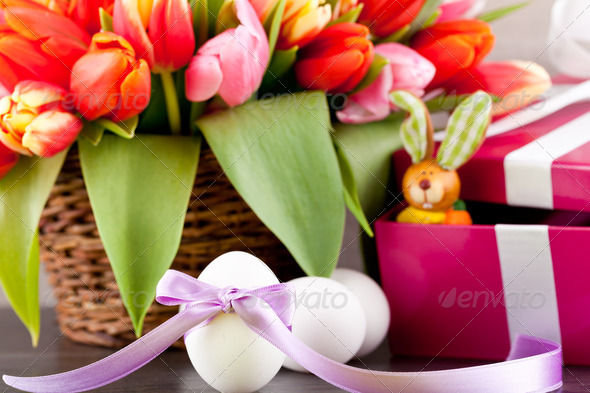 PhotoDune pink present and colorful tulips festive easter decoration 4024099