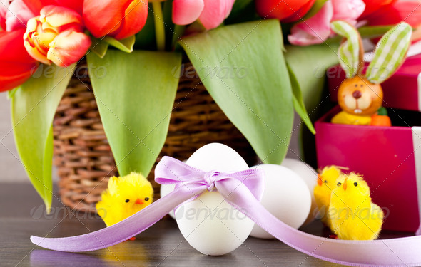 PhotoDune pink present and colorful tulips festive easter decoration 4024100