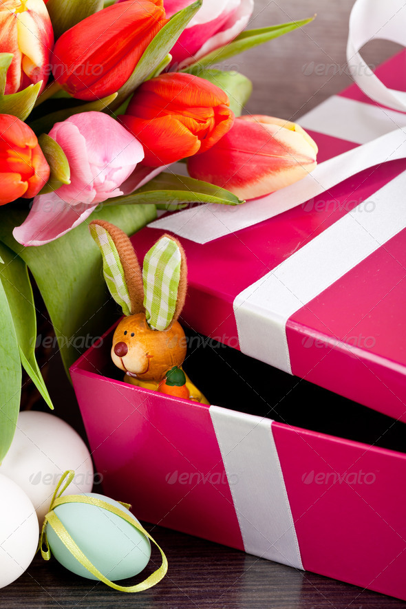 PhotoDune pink present and colorful tulips festive easter decoration 4024101