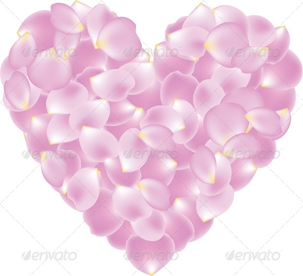 GraphicRiver Rose Pink Petal Shaped Heart 4024051