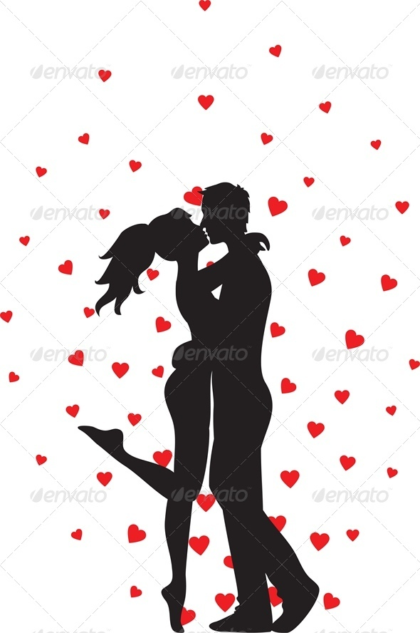 GraphicRiver Silhouette of kissing couple and hearts 4024072