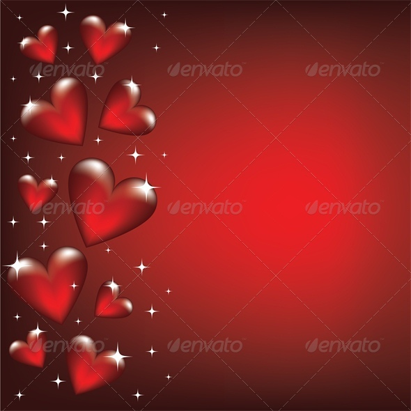 Valentine card with heart border