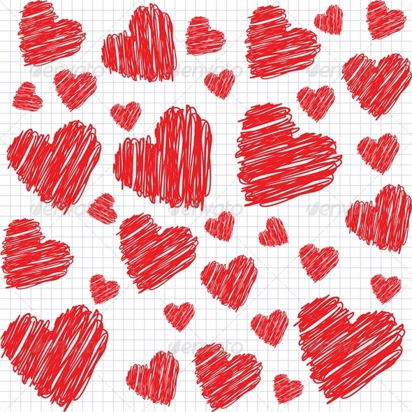 GraphicRiver Background with doodle hearts 4024190