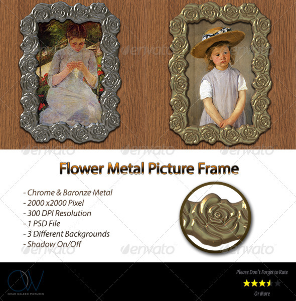 Flower Metal Frame - Photo Templates Graphics