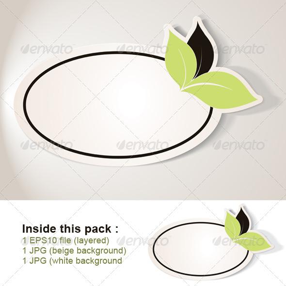 GraphicRiver Eco Friendly Sticker Oval Tag Bio note 4024430