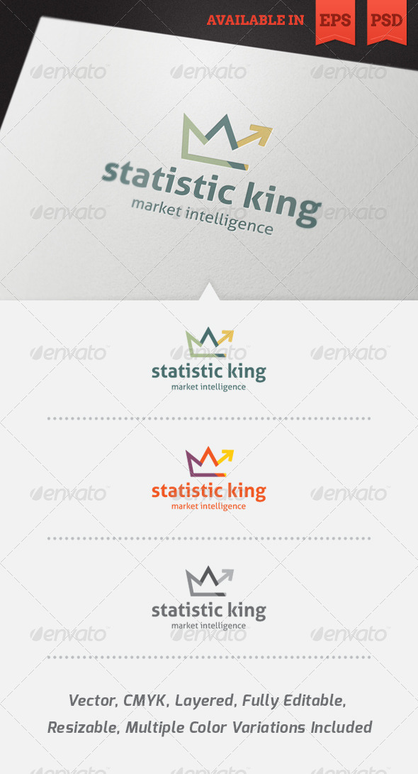 GraphicRiver Statistic King Logo Template 4024450
