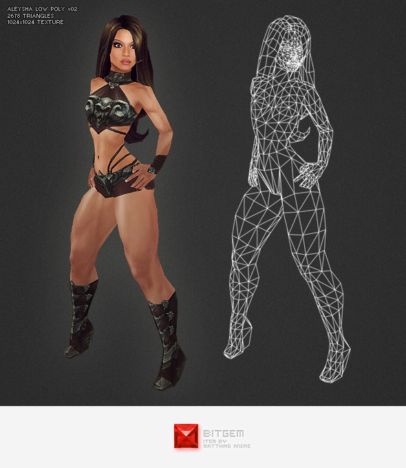 Low Poly Aleysha v02 - 3DOcean Item for Sale