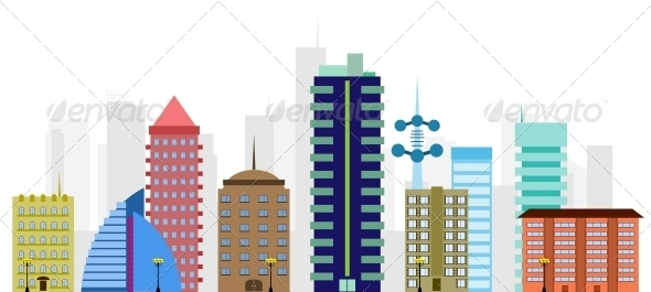 GraphicRiver multi-colored vector city 4025174
