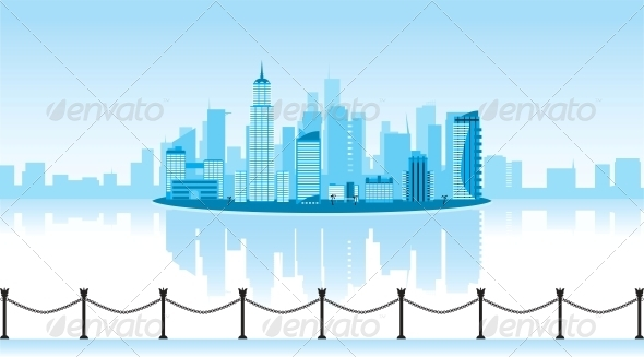 GraphicRiver Vector Illustration of a City with Reflection 4025262
