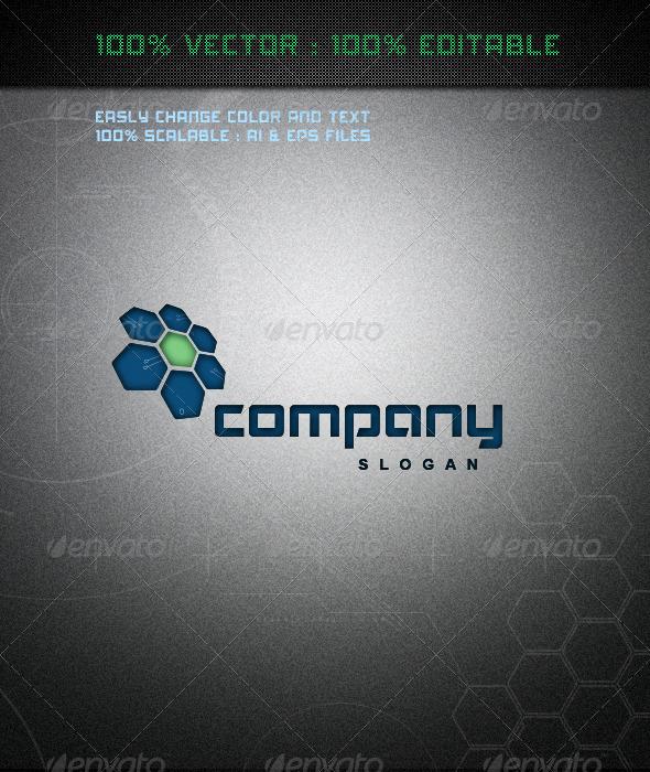 GraphicRiver Hi-Tech Blue Flower Logo 3895746