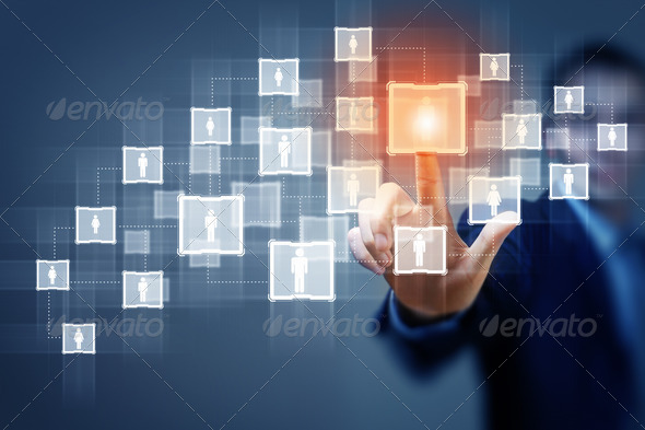 Image of male touching icon of social network - Stock Photo - Images