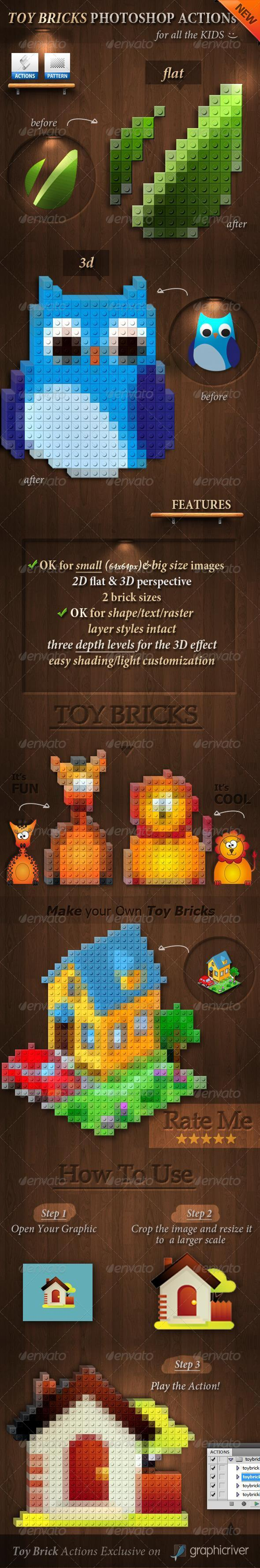GraphicRiver 3D Toy Bricks Photoshop Actions 3924994