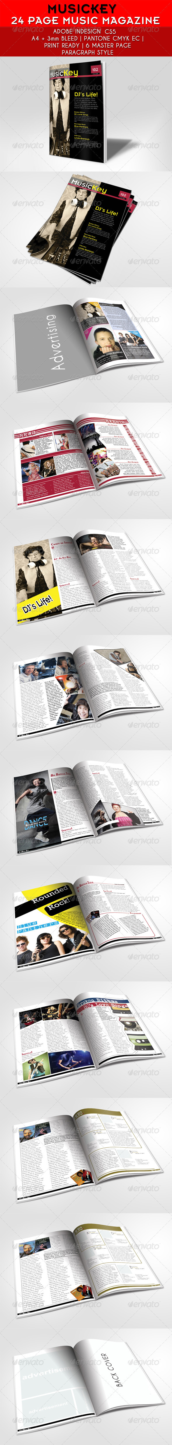GraphicRiver 24 Pages Musickey Music Magazine Template 4026719