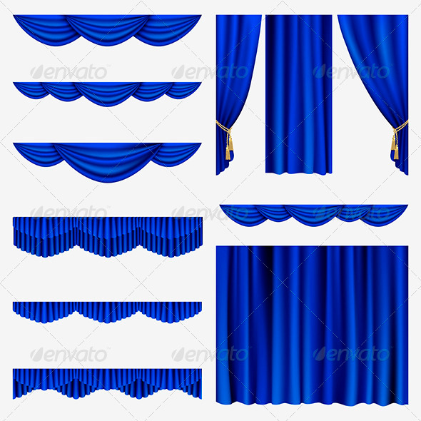 GraphicRiver Blue Curtains 4027115