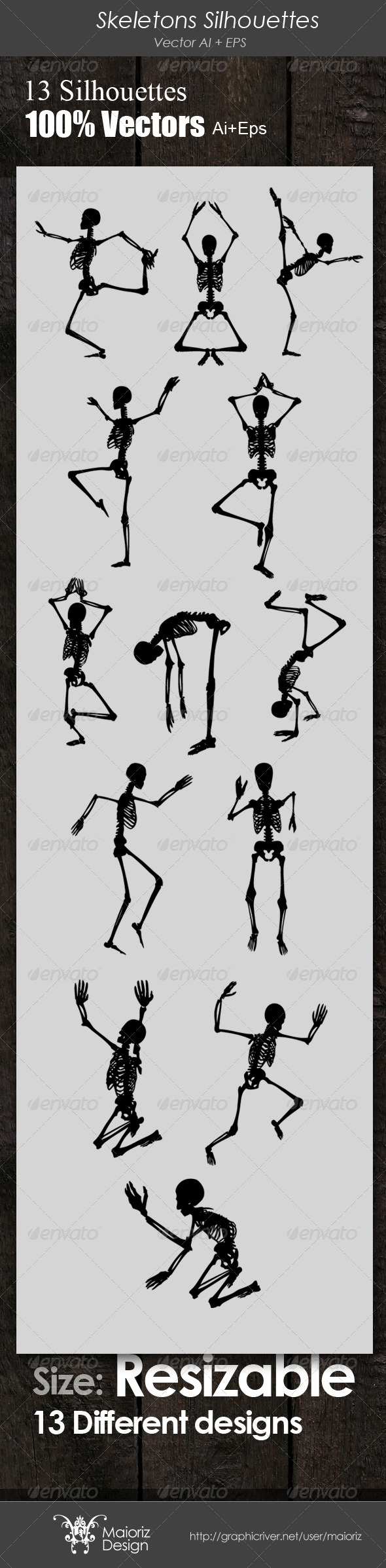 GraphicRiver Skeletons Silhouettes 4027132
